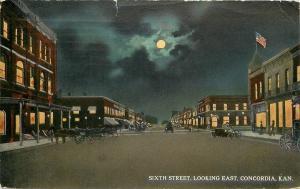 Concordia Kansas~Moonlit Sixth Street~Looking East~1914 Postcard