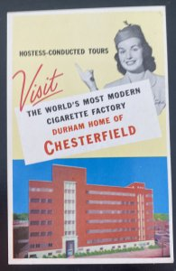 Mint Usa Advertising Picture Postcard Tobacco Chesterfield Cigarette Factory SC