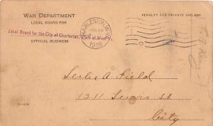 D84/ Charleston West Virginia WV Postcard 1918 War Department Leslie A Field