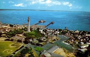 Massachusetts Cape Cod Provincetown Aerial View Showing Pilgrim Monument Pier...