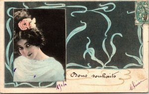 Vintage French RPPC postcard - PORTRAIT - POSTED