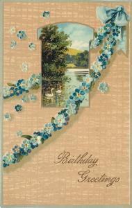 PFB~Swans in Gold Leaf Inset~Blue Forget-Me-Nots Flower Garland~Tan Back~Emboss