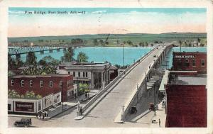 Fort Smith Arkansas~Free Bridge over AR River~Billboards~Hotel~Buildings~1928