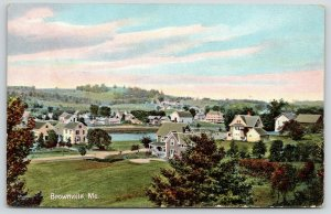 Brownville Maine~Birdseye View Overlooking Town~Trees on Hills~1907 Postcard