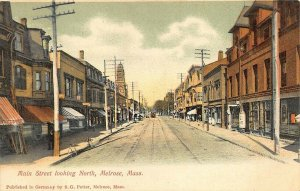 Melrose MA Main Street Looking North Storefronts Church Trolley Postcard