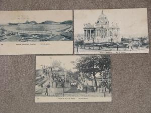 Rio De Janeiro (3) used, vintage cards (1908)