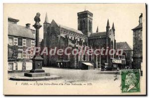 Old Postcard Vire The Notre Dame and Place Nationale