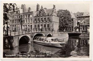 Amsterdam, Huis aan de drie grachten, 1953 used Real Photo Postcard