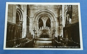 Vintage Real Photo Postcard Choir And Stalls Herefordshire Cathedral D1