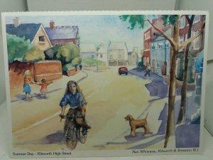 Vintage Postcard Summer Day Kibworth High Street Painting by Nan Whiteway 1980s