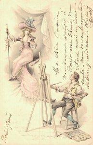 Art Nouveau Painting a Lady 05.40