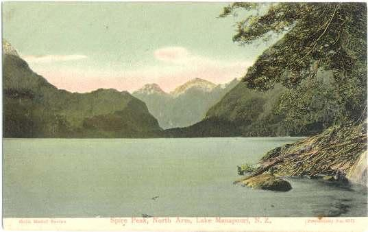 Spire Peak, North Arm, Lake Manapouri New Zealand NZ, Divided Back