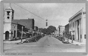 F41/ Sylvania Ohio Postcard c1940s Main Street Stores
