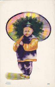 Oriental Child With Parasol