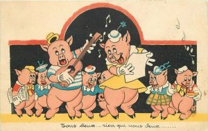 Anthropomorphic Dressed Pigs Singing Comic Humor 1930s Postcard 20-14230