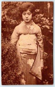 1920's JAPANESE GEISHA GIRL WOMAN IN GARDEN  ANTIQUE POSTCARD