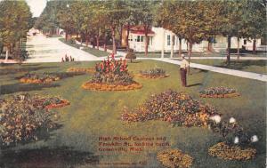Greenville Michigan~High School Campus & Franklin Street~Man by Gardens~c1910 Pc