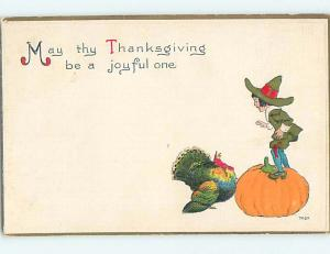 Pre-Linen BOY STANDS ON GIANT HALLOWEEN PUMPKIN BY THANKSGIVING TURKEY HQ7338