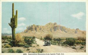 Apache Trail Auto C-1915 Postcard Superstition Mountains  HTTCO 3379