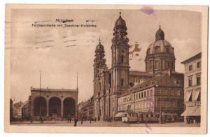 Munchen, Feldherrnhalle mit Theatiner-Hofkirche