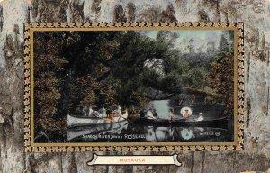 Canoes Shadow River Rousseau Muskoka Ontario Canada 1911 postcard