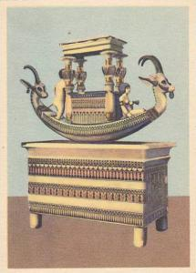 Model boat on a pedestal, of alabaster inlaid with paste, Egypt, 30-40s