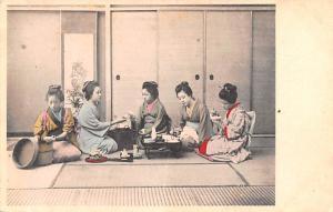 Japan Old Vintage Antique Post Card Tea Time Unused