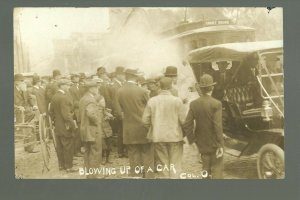 Columbus OHIO RP 1910 STREETCAR STRIKE Riot BLOWING UP TROLLEY Social History