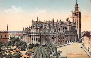 Spain Old Vintage Antique Post Card Sevilla Catedral Writing on back