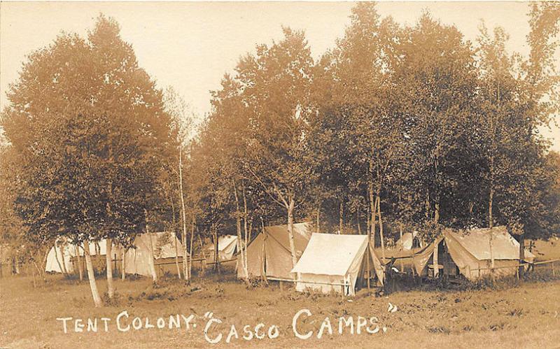 West Poland ME Tent Colony Casco C&s RPPC Postcard & West Poland ME Tent Colony Casco Camps RPPC Postcard / HipPostcard