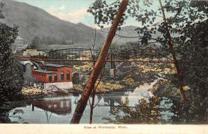 Woronoco Massachusetts Birdseye View Of Bridge Antique Postcard K47622