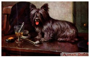 Dog , A Small Scotch , Dog and glass of scotch