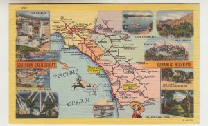 P2230 vintage postcard map & highways of southern calif with multi views