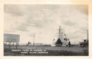 F53/ Grand Island Nebraska RPPC Postcard 1948 Jerome's Tepee Roadside