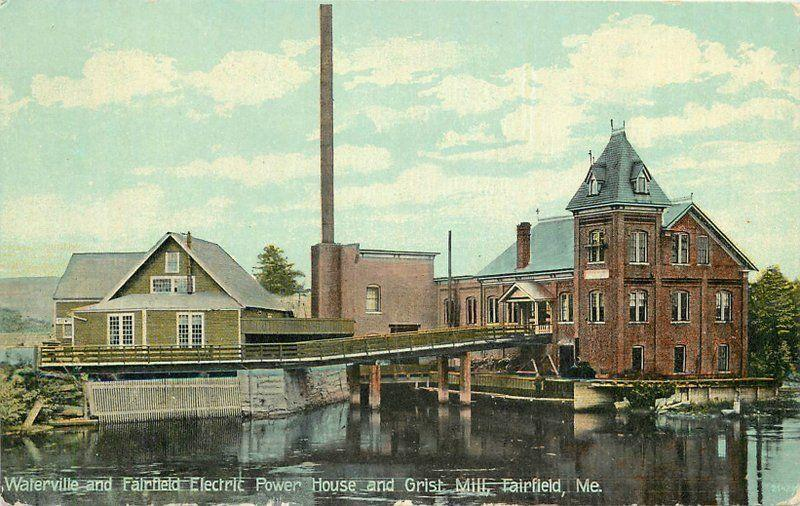 C-1910 Fairfield Maine Waterville Electric Power House Grist Mill Leighton 5737