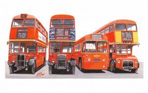 Miniature Art Postcard LONDON Transport Buses, RT, RTL, RF, RM