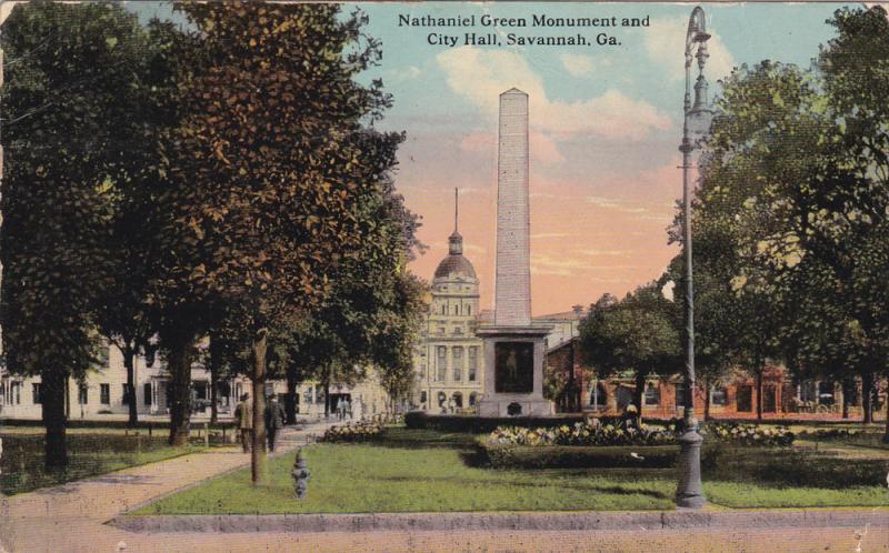 Nathaniel Green Monument And City Hall, SAVANNAH, Georgia, PU-1912