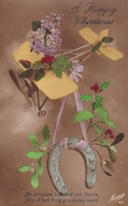 CHRISTMAS; 1900-1910's; A Happy Christmas, An Aeroplane Bedecked With Flow...