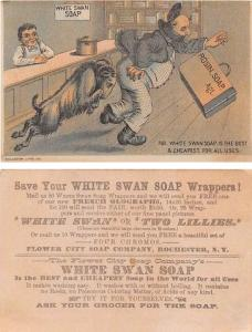 Approx Size Inches = 3.25 x 5 White Swan Soap Tradecard