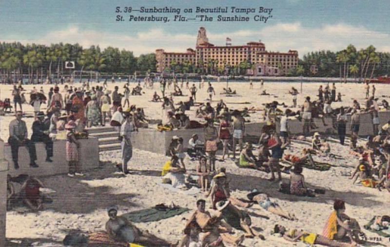 Florida St Petersburg Sunbathing On Beautiful Tampa Bay Curteich