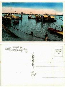 CPA AK SAIGON petites embarcations sur la riviere VIETNAM INDOCHINE (463384)