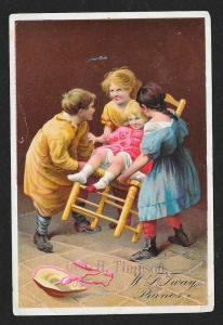 VICTORIAN TRADE CARD Tway Pianos Kids Playing w/Chair