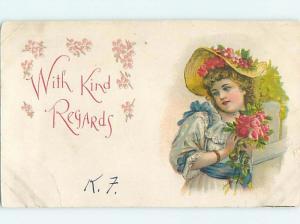 Pre-1907 art nouveau PRETTY GIRL WEARING PINK FLOWERS IN HER HAT HL4186