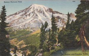 Rainier National Park Mount Rainier And Paradise Valley Washington