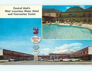 Unused Pre-1980 OLD CARS & ROYAL INN MOTEL & RESTAURANT Provo Utah UT u4490@