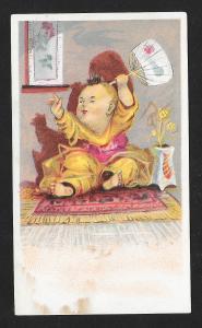 VICTORIAN TRADE CARD Asian Child w/Fan
