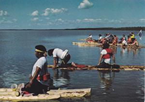 Indians on rafts , N.W.T. , Canada , 1960-80s