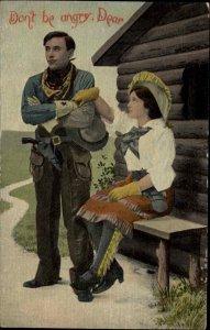 Cowgirl Cow Girl & Cowboy Pistol Gu DON'T BE ANGRY, DEAR c1910 Postcard