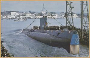 USS Sargo (SSN-583) takes to the water at Mare Island Navy shipyard, Vallejo, CA