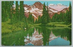 Washington~Mt Rainier & Mirror Lake~Vintage Postcard